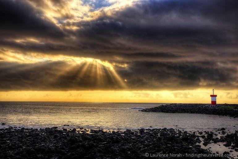 Sonnenuntergang San Cristobal Leuchtturm Galapagos