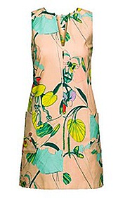 H&M Conscious 2012 Collection SPRING flora leaf print dress pale pink lyocell eco green substainability