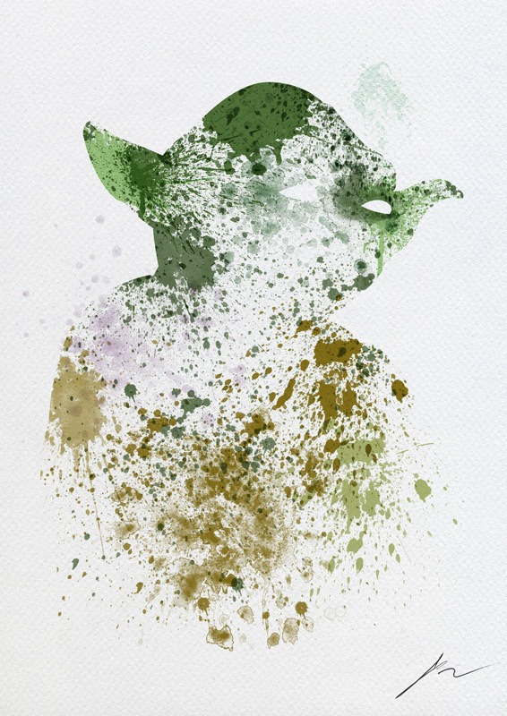 Arian Noveir - Star Wars Splatterart-Yoda via Nerd Approved