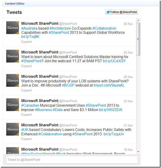 Sadomovalexs Blog Add Twitter Widget To Sharepoint Site Using Otb