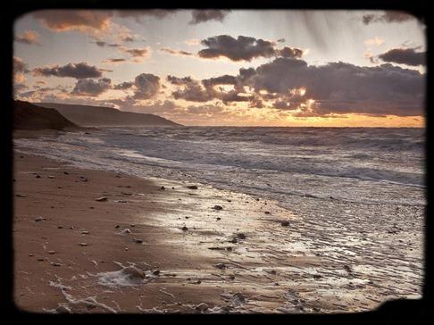 playa atardecer
