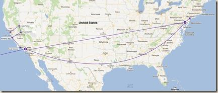 US trip map