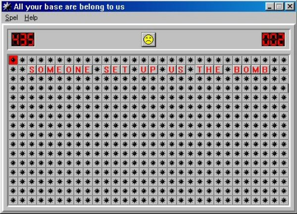 "Minesweeper game showing ""Someone set up us the bomb"""