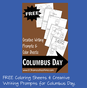 Columbus Day Coloring Sheets and Creative Writing Prompts