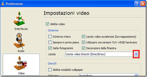 VLC Impostazioni video