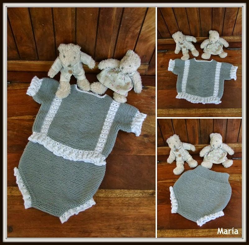 Conjunto gris y blanco de algodón