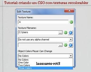 Tutorial - criando um CSO com texturas recolorables (lassoares-rct3) RCT Importer II
