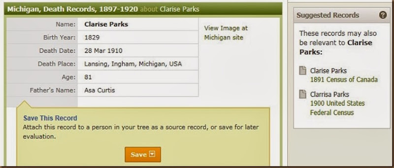 PARKS_Clarissa_Mich death index in Ancestry