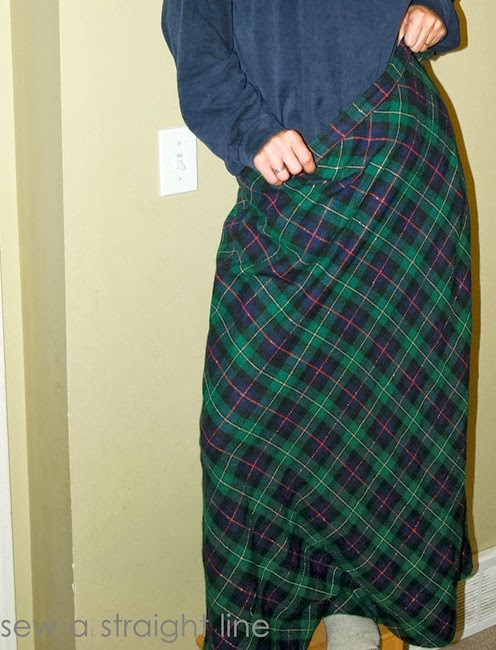 wool plaid skirt refashion sew a straight line-1