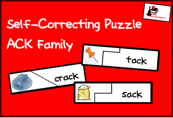 Centers are not one size fit all!  All instruction should be differentiated to meet the needs of students, including math and literacy centers.  Stop by Raki's Rad Resources for ideas and resources - ACK family self correcting puzzle