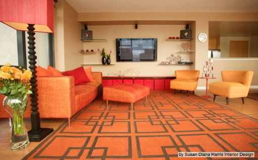 Unexpected bursts of pink and red keep this room from being too theme-y to last past the holidays. (www.houzz.com)