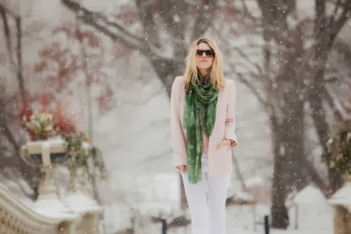 fashion-over-reason-winter-pastels-j-brand-white-denim-jason-wu-pink-polka-dot-blouse-saucony-pink-sneakers-adrienne-landau-fur-vest-solo-eyewear-zara-sharp-pink-blazer-bindya-green-scarf-lead