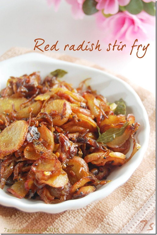Red radish stir fry