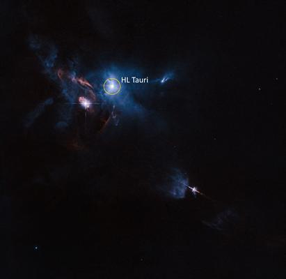 região em torno da jovem estrela HL Tauri