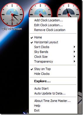Time Zone Master gestione dei fusi orari con il menu contestuale del mouse