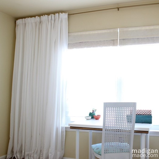 white IKEA curtains and long curtain rod tutorial - madiganmade.com