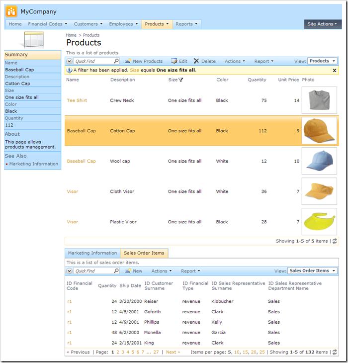 Default Products page for SqlAnywhere demo database web application.