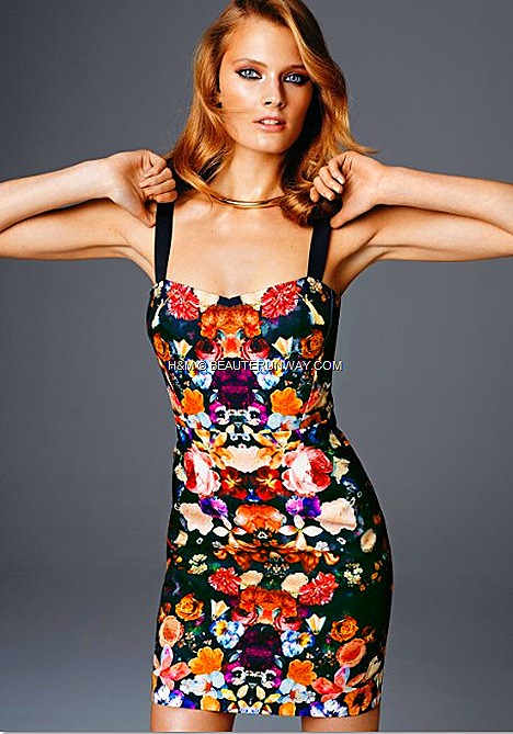 H&M SPRING 2012 CONSCIOUS COLLECTION EXCLUSIVE GLAMOUR PHOTO PRINT DRESS  JACKET KRISTIN DAVIS Michelle Willams Red Carpet Look