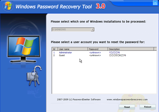 Windows Password Recovery Tool 3