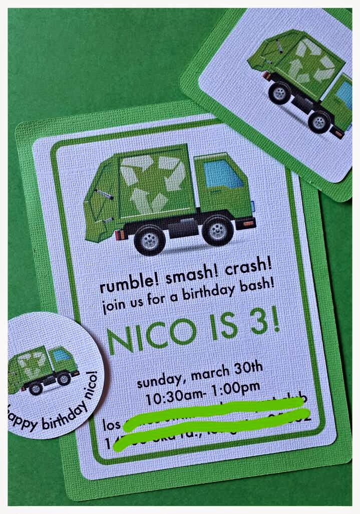 Nicos garbage truck party mama and her little sweetpeas i found this free garbage truck image and went off of that for the rest of the decorations these were his invitations that i created and we mailed them in filmwisefo