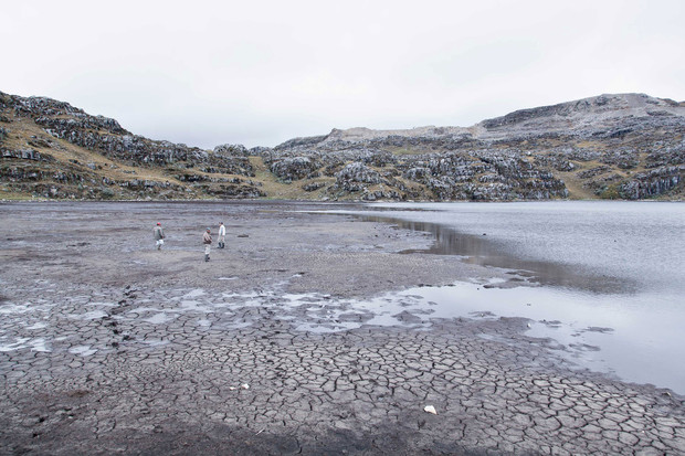 This lake in the Peruvian Andes, once the water supply for farms and villagers, is drying up after Newmont's Yanacocha mine drained its water. Photo: Gabriel Rinaldi / Bloomberg Markets