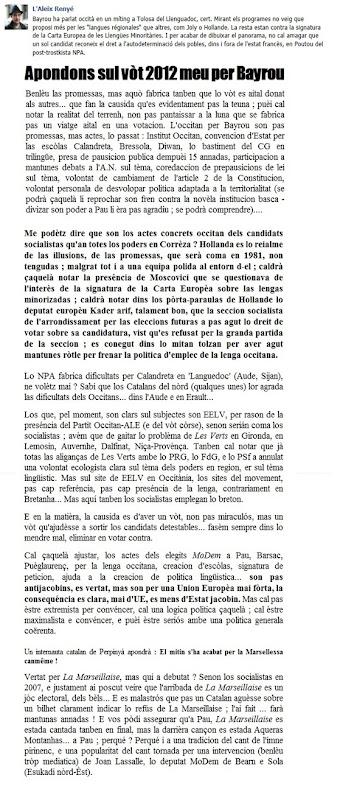Apondons Vòt Bayrou 2012