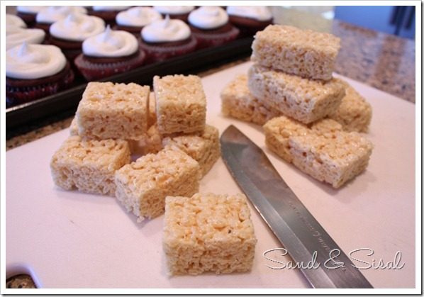 Cut rice krispie treats