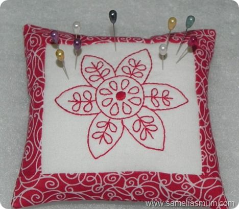 Redwork Pincushion 5