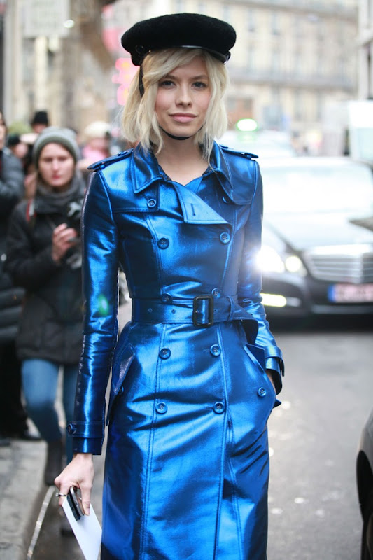la-modella-mafia-Elena-Perminova-in-a-Burberry-metallic-blue-trench-coat-military-hat-and-cap-toe-pumps-Fashion-Week-haute-couture-2013-via-vogue.fr_