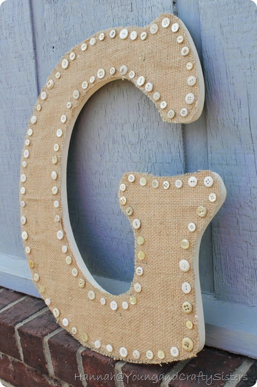 burlap and button monogrammed letter 8