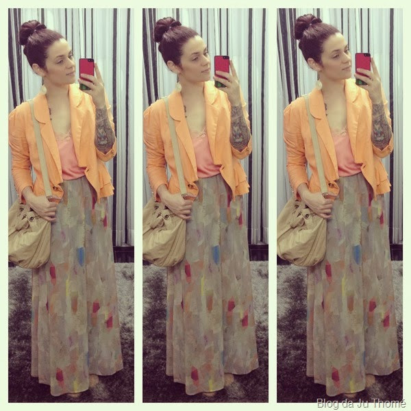look saia longa CANAL e blazer laranja