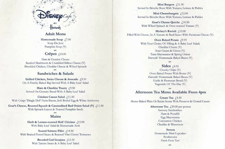 disney cafe harrods menu