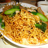 Cantonese chow mein noodles at Chinatown, Toronto in Toronto, Ontario, Canada