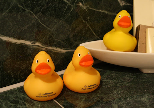 We brought the Hyatt rubber ducky two friends from the Lufthansa lounge