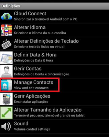 Clique em Manage Contacts - BlueStacks