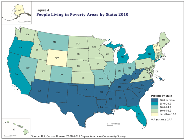 People living in poverty areas by state, 2010. Graphic: U.S. Census Bureau