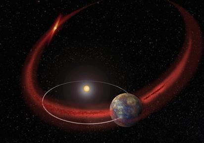 Mercúrio atravessa uma chuva de meteoros