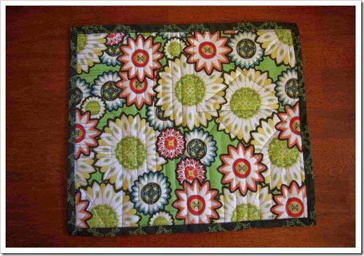 quilted mug rug back