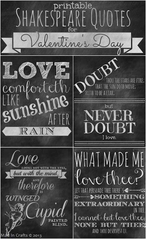 Printable Shakespeare Quotes for Valentine's Day