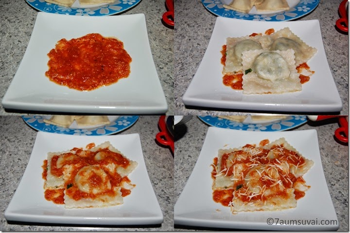 Serving of ravioli process