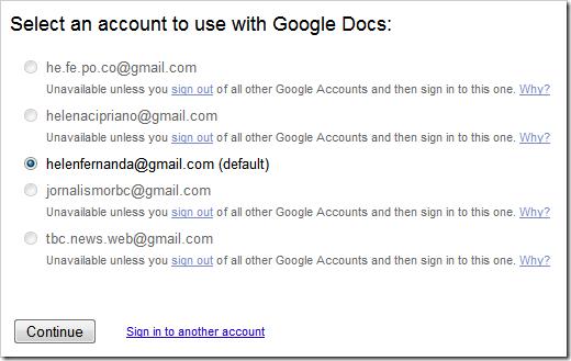 Usar Google Docs com login múltiplo