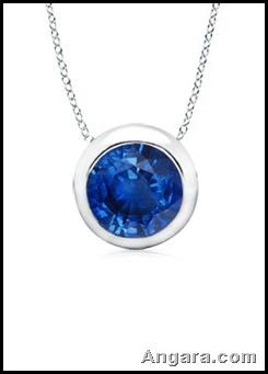 Round Sapphire Bezel-Set Pendant