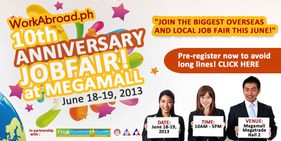 10th Anniversary Job Fair at Megamall June 18-19, 2013