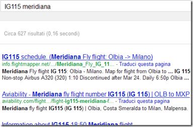 Sapere lo stato del volo di un aereo con Google