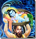 Vasudeva carrying Krishna