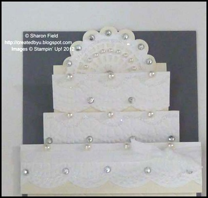 doilies_sizzlits and scallop punch cake topper with dazzling diamonds too