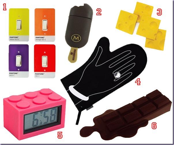 Espelho-Interruptor-Pantone-Sorvete-Pen-Drive-Portacopos-Queijo-Relógio-Lego-Luva-Anel-pulseira-Mão-Trava-Porta-Chocolate