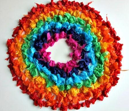 Rainbow Tissue Paper Art from The Golden Gleam