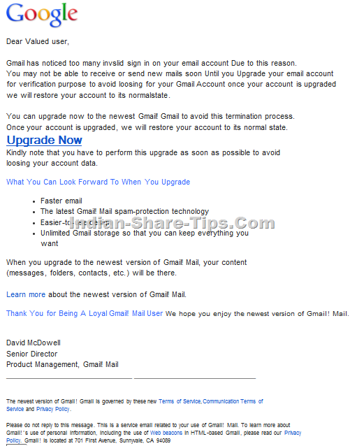 Email Spam in disguise of Gmail Account being suspended