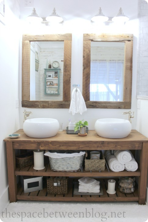 rustic wood vanity with shelves